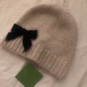 NWT Kate Spade Metallic Knit Hat with Bow